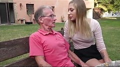 Oldman John fuck girl outdoor