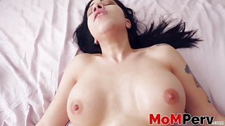 Horny stepmom suck and rides her stepsons huge dick in POV