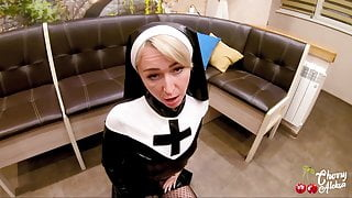 Sexy Nun Sucked and Ass Fucked to Cum in Mouth POV - Cosplay