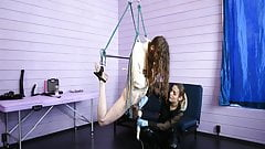 Electro and vibe orgasm for bondaged slave