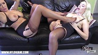 Lesbian big tits slut nylon footjob fucking wanking orgasm