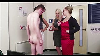 3 English ladys give boy theory test with hand job finish