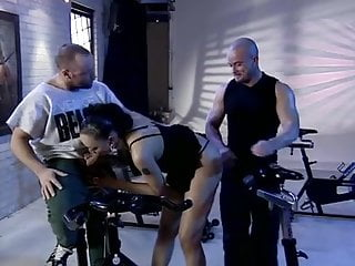 Double fucked by two black Hot black girl double fucked by two men at the gym