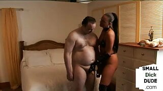 Micro dick dommes humiliating guy in this kinky group scene