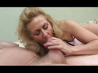 Throating huge cock - Horny blonde granny deep throats huge cock