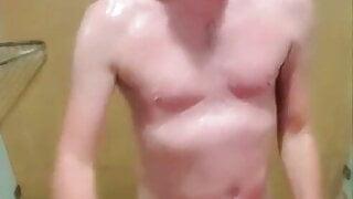 Hot ginger taking a shower