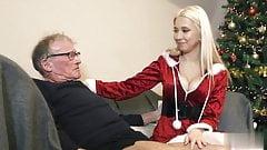 Oldman John fucks blonde in christmas