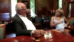 Old man fuck his young wife in restaurant