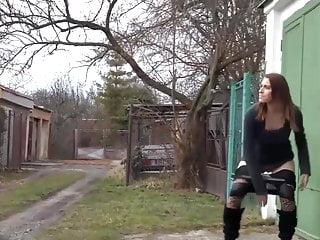 Girl pisses in street Gorgeous girl pissing in street