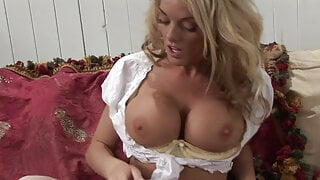 Horny blonde in white stockings shoves a dildo in her twat