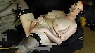 Chubby Lingerie Housewife Masturbating On Sofa