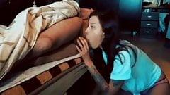 GF sucks her boyfriend's cock while he rests