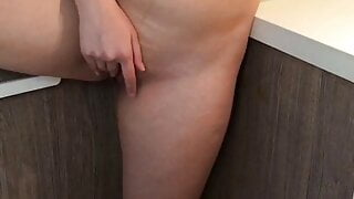 Showing my pussy in the kitchen