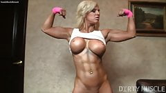 Fitness Blonde Muscle Barbie Shows Off Her Sexy Pussy