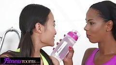 Fitness Rooms Asian PussyKat and ebony milf Isabella Chrysti