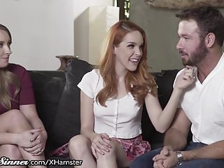 Husband watches lesbian porn Wife turned on by watching husband with redhead armana