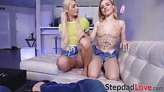 Teen Nella Jones riding stepdads cock in taboo threesome