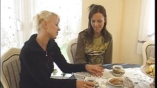 Young wives make out and groped at coffee table