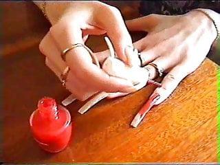 Oryan - sexy red polish lyrics Long natural nails red polishing