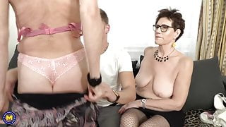Two mature moms fuck lucky step son