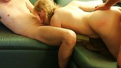 Spit Roasting Blonde Mature Pet Wife