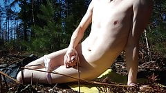 Sissy boy in the woods hand job and cum
