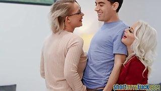 Milfs share little guy's dick in kinky threesome