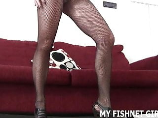 Thighs cock Rub your hard cock against my thighs in fishnets joi