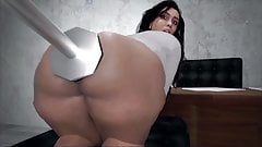 Big booty cartoon bitch gets pounded in the ass with a dildo