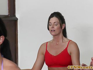 After class grab ass Bossy cfnm babes cumswapping after yoga class