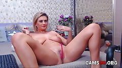 Mature Blonde with Natural Tits Squirts when She Masturbates