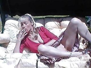 Skinny nude mom Katerina smokes nude outdoors