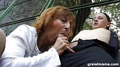 Mom sucks cock on playground