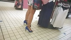 Slow mo - Nice woman with high heels looking for lingerie 2