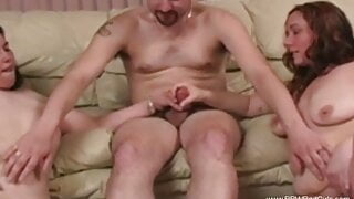 Two BBW Give An Erotic Blowjob and Cumshot Session