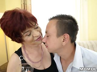 Hot moms young dick Granny enjoys to ride on a young dick