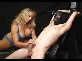 Tied down sex - Femdom handjob ambers slow hj tied down.