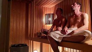 2 guys in the sauna got fucked hard