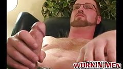 Hairy stud strokes his massive dick and shoots thick loads