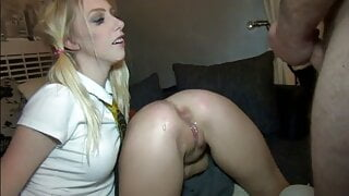 Redhead chav slag anal creampies, gangbang with cum eating blonde