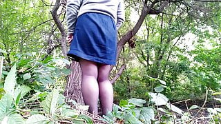 Peeing in outdoor taking off my pantyhose