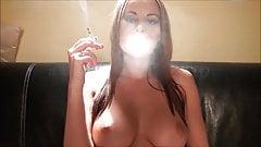 Brunette smokes 1