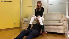 Kira Humiliation Her Slave - Jeanssitting Spitting Femdom