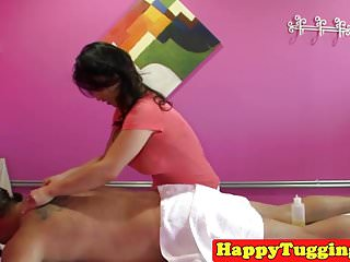Tug cock trailer Bigtitted asian masseuse tugging client cock