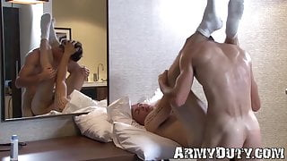 Gay soldiers suck each other and bareback for first time