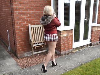 Ass big upskirt - Mature neighbor walks with short skirt and bare ass outdoors