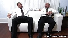 Bound muscular dude endures tickling torment by muscular gay