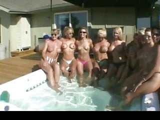 Allie naughty threesome video - Naughty allie all girl pool swinger party