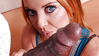 Experienced, red haired fuck doll, Janet Mason sucks black c
