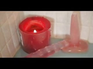 Wax dildo Play with pussy in bath - dildo and candle wax